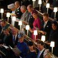 La reine Elisabeth II d'Angleterre et le prince Philip, duc d'Edimbourg, Le prince William, duc de Cambridge, et Catherine (Kate) Middleton, duchesse de Cambridge, Le prince Harry, duc de Sussex, et Meghan Markle, duchesse de Sussex, la princesse Anne, Sarah Ferguson, duchesse d'York et la princesse Beatrice d'York, Peter Phillips, Autumn Phillips, Mike Tindall, Zara Tindall, Lady Louise Mountbatten-Windsor et le prince Pavlos de Grèce - Cérémonie de mariage de la princesse Eugenie d'York et Jack Brooksbank en la chapelle Saint-George au château de Windsor, Royaume Uni le 12 octobre 2018.