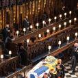 Le prince Charles, prince de Galles, la princesse Anne, le prince Andrew, duc d'York, le prince William, duc de Cambridge, David Armstrong-Jones, comte de Snowdon, Peter Phillips, la princesse Anne, le prince Edward, comte de Wessex, le prince Harry, duc de Sussex, Sir Timothy Laurence - Funérailles du prince Philip, duc d'Edimbourg à la chapelle Saint-Georges du château de Windsor, Royaume Uni, le 17 avril 2021.