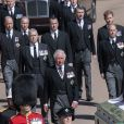 Le prince Charles, prince de Galles, la princesse Anne, le prince Andrew, duc d'York, le prince Edward, comte de Wessex, le prince William, duc de Cambridge, Peter Phillips, le prince Harry, duc de Sussex, David Armstrong-Jones, comte de Snowdon, Sir Timothy Laurence - Arrivées aux funérailles du prince Philip, duc d'Edimbourg à la chapelle Saint-Georges du château de Windsor.