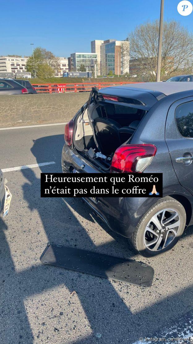 Sur Instagram, Camille Cerf montre un aperçu de son accident de voiture, survenu le 26 avril 2021.