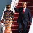 Donald Trump et sa femme Melania débarquent à l'aéroport international de Palm Beach, le 20 janvier 2021.