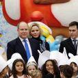 Camille Gottlieb, le prince Albert II de Monaco, la princesse Charlène, Louis Ducruet lors de la remise de cadeaux de Noël aux enfants monégasques au palais à Monaco le 18 décembre 2019. © Claudia Albuquerque / Bestimage