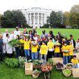 Michelle Obama dans les jardins de la maison blanche en train de s'occuper de son potager