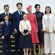 La reine Margrethe II, le prince Frederik, son épouse la princesse Mary et leurs enfants, les princes Christian, Isabella, Joséphine et Vincent de Danemark arrivent à la confirmation du prince Christian à l'église du château de Fredensborg. Le samedi 15 mai 2021.