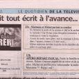 Edition du Parisien du 30/11/09 avec le scénario écrit à l'avance !!