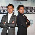 Jude Law et Robert Downey Jr. lors de la première de Sherlock Holmes à Madrid le 12 janvier 2010