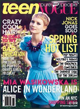 Mia Wasikowska en couverture de Teen Vogue