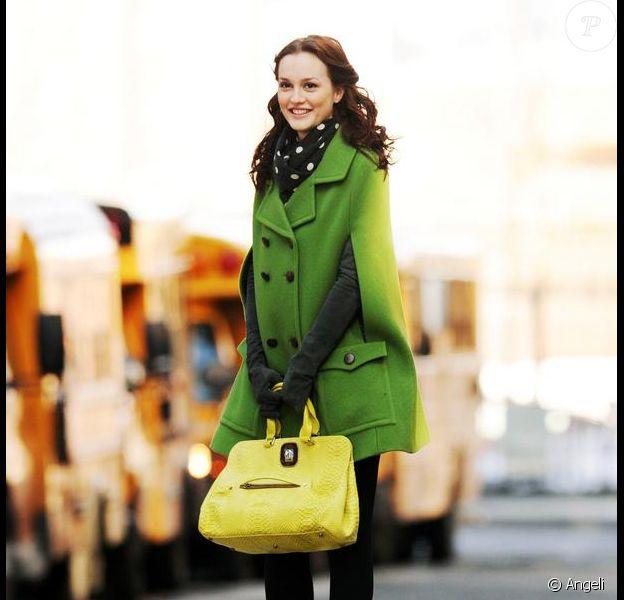 Leighton Meester sur le tournage de Gossip Girl, le 1er mars 2010