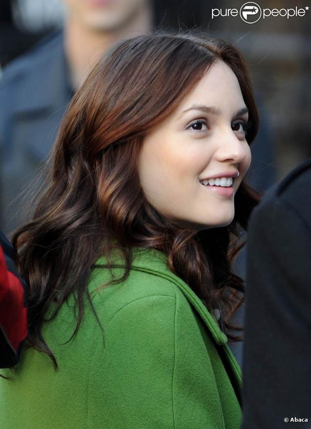 Leighton Meester sur le tournage de Gossip Girl à New York, le 9 mars 2010