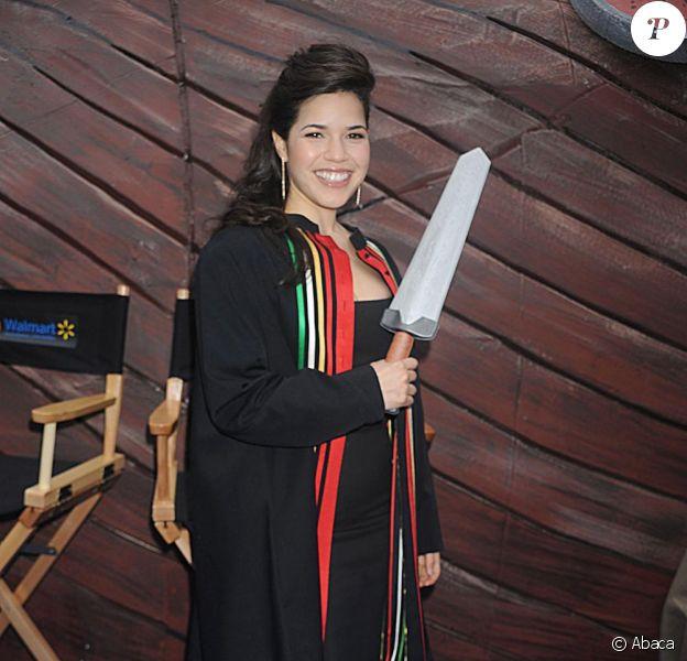 America Ferrera lors du photocall pour le dernier film d'animation de DreamWorks How to Train Your Dragon à New York le 23 mars 2010