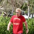 Boris Becker et sa Lilly se baladent avec Amadeus, 2 mois et Elias, 10 ans. Miami, le 4/04/2010