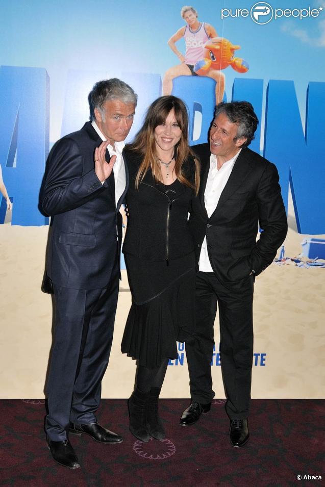 Franck Dubosc, Mathilde Seigner et Richard Anconina, à l'occasion de l'avant-première de  Camping 2 , au Gaumont Opéra, à Paris, le 13 avril 2010.