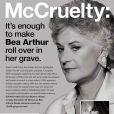 Bea Arthur fait une publicité la PeTA