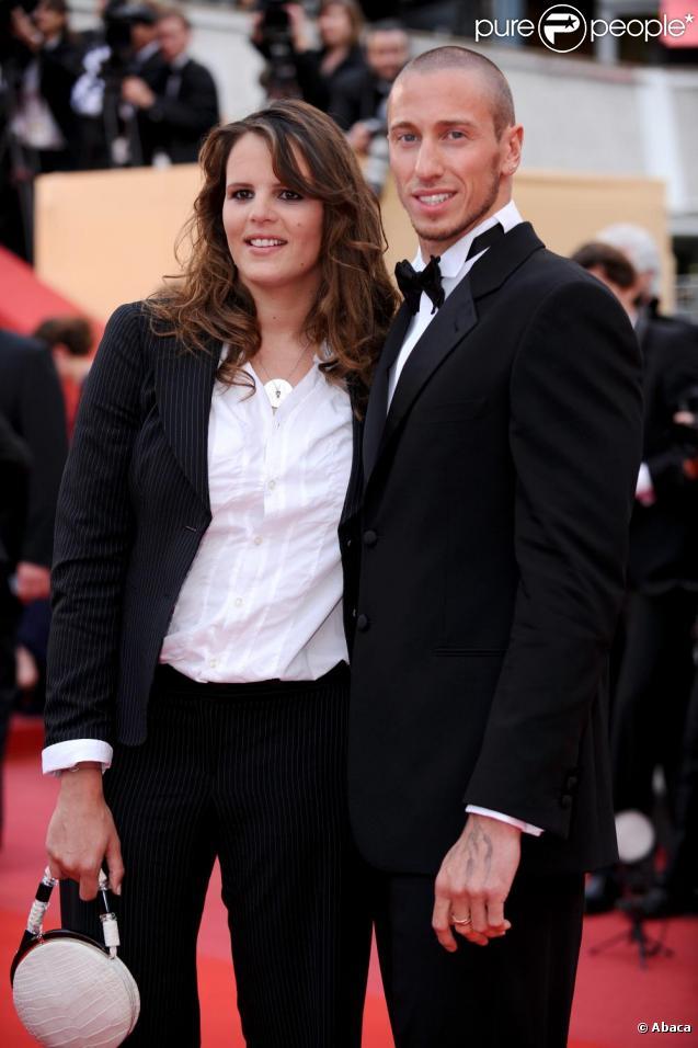 Laure Manaudou et Frédérick Bousquet à Cannes lors de la montée des marches du film La Princesse de Montpensier. Le 16 mai 2010.