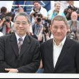Masayuki Mori et Takeshi présente à Cannes son film Outrage le 17 mai 2010
