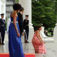 Michelle et Barack Obama reçoivent le président mexicain Felipe Calderon et son épouse à la Maison Blanche, le 19/05/2010.