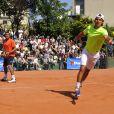 Jo-Wilfried Tsonga et Rafael Nadal s'entraînent avant le tournois de Roland Garros le 20 mai 2010