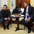 Frédéric Lopez et Jo-Wilfried Tsonga lors de l'événement caritatif Ace de coeur au profit des associations Attrap'la balle et Mécénat Chirurgie Cardiaque le 20 mai 2010 à l'hôtel Park Hyatt à Paris
