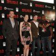 """La belle Jessica Biel entourée de Bradley Cooper, Sharlto Copley et Quinton """"Rampage"""" Jackson, à l'occasion de l'avant-première de  L'agence tous risques , qui s'est tenue à Mexico City, au Mexique, le 31 août 2010."""