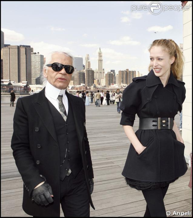 Karl Largerfeld et la pétillante Raquel Zimermann en plein shooting à N.Y pour Fendi