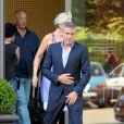George Clooney et John Malkovich sont sur le tournage de la nouvelle pub Nespresso à Milan en Italie le 3 août 2010