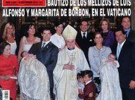 Louis de Bourbon et Maria Margarita, très fiers pour le baptême de leurs jumeaux de 3 mois !