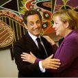 Nicolas Sarkozy et Angela Merkel lors d'une rencontre privée au quartier général de l'ONU à New York avec la chancelière allemande le 20 septembre 2010