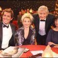 Max Guazzini, Christelle Cholet, Patrick Sébastien et Mathilda May à l'émission Le Plus Grand Cabaret du Monde diffusée le 16 octobre 2010 sur France 2.