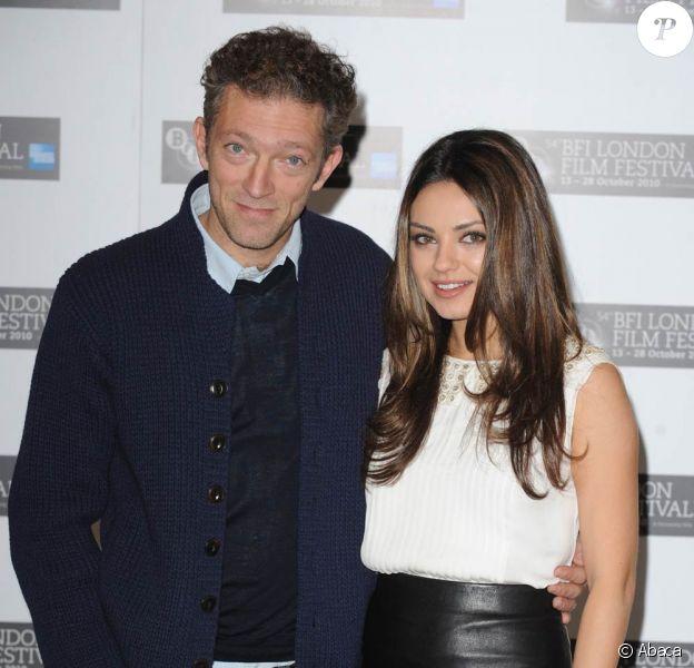 Vincent Cassel et Mila Kunis, à l'occasion de la présentation de Black Swan, dans le cadre du London Film Festival, au Berkeley Hotel, à Londres, le 22 octobre 2010.