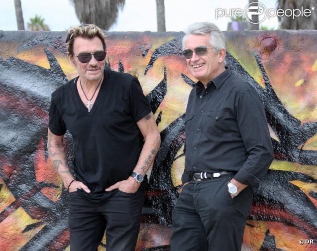 Johnny Hallyday et Gilbert Coullier à Los Angeles, octobre 2010