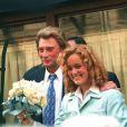 Johnny et Laeticia Hallyday lors de leur mariage le 25 mars 1996