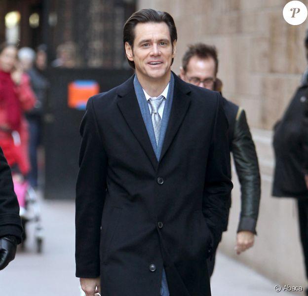 Jim Carrey sur le tournage de Mr. Popper's Penguins à New York le 11 novembre 2010