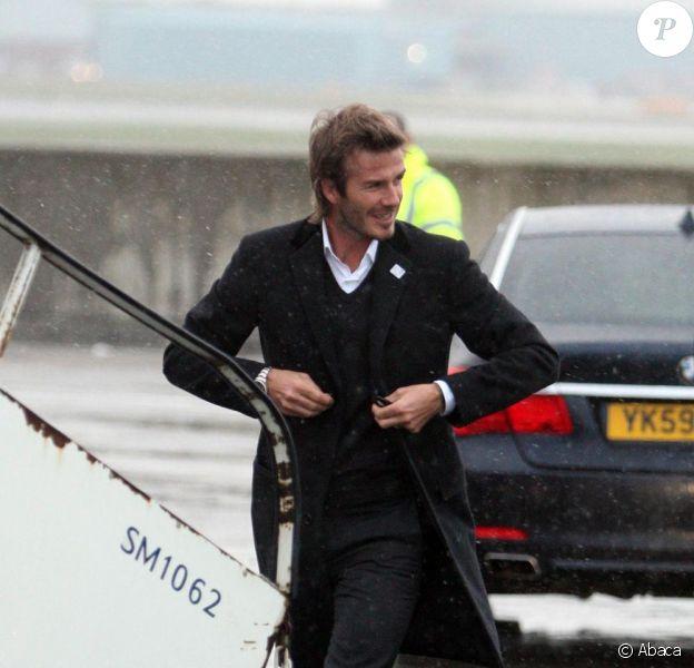 David Beckham lors de son départ pour Zurich le 30/11/10