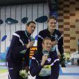 Frédérick Bousquet, Alain Bernard, Yannick Agnel et Fabien Gilot champion du monde du relais 4x100 mètres, le 15 décembre 2010 à Dubaï.