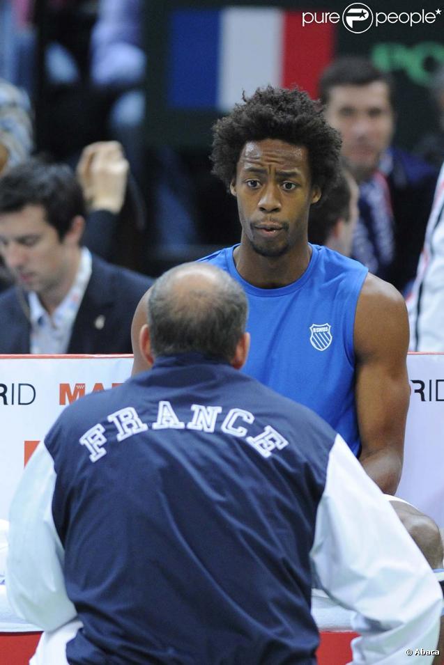 Gaël Mofnils, finale de la Coupe Davis, à Belgrade, le 5 décembre 2010