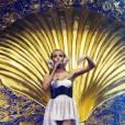 """""""Kylie Minogue se produit sur la scène de la Herning Multi-Arena, à Herning, au Danemark, pour le premier concert de son Aphrodite - Les Folies World Tour, samedi 19 février."""""""