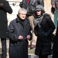 Claude Lelouch et sa fille Salomé quittant l'église Saint-Roch à Paris où se sont déroulées les obsèques d'Annie Girardot le 4 mars 2011