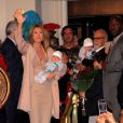 Céline Dion et René Angelil avec leurs enfants René-Charles et les jumeaux à Las Vegas le 16 février 2011.