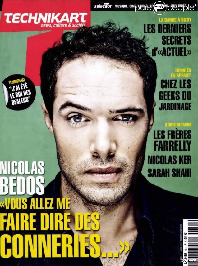 Nicolas Bedos en couverture de  Technikart , en kiosques le 30 mars 2011