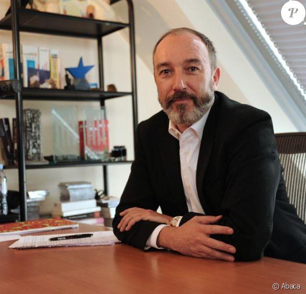 Pierre Bellanger, démis de ses fonctions de PDG de Skyrock, donne une conférence de presse dans son bureau, le jeudi 14 avril 2011.