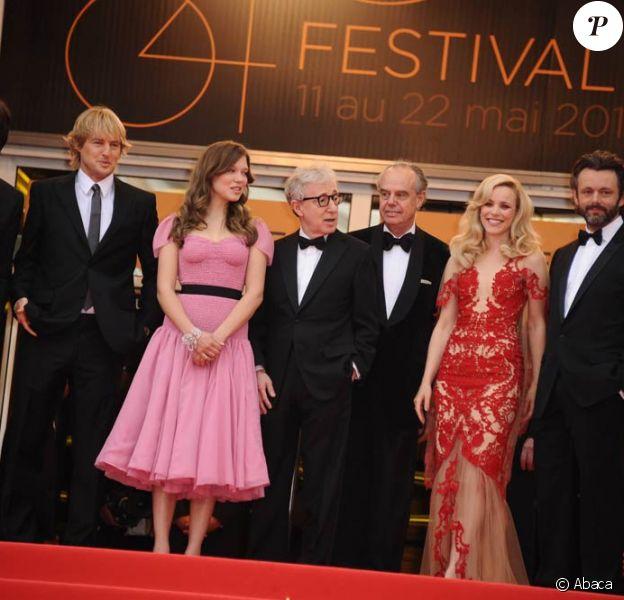 Adrien Brody, Owen Wilson, Léa Seydoux, Woody Allen, Rachel McAdams et Michael Sheen à l'occasion de la cérémonie d'ouveture du 64e Festival de Cannes, le 11 mai 2011.