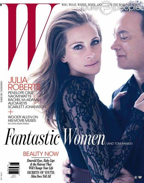 Julia Roberts pose en Une du magazine W avec Tom Hanks.