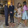 Barack et Michelle Obama à Buckingham Palace, rencontre avec William et Kate, à Londres, le 24 mai 2011.