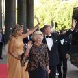 La princesse Maxima des Pays-Bas lors de la célébration de son 40e  anniversaire à Amsterdam le 27 mai 2011, avec son époux le prince Willem  Alexander et sa belle-mère la reine Beatrix