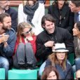 Sonia Rolland et Jalil Lespert au tournoi de Roland-Garros, le 31 mai 2011. Ils sont à côté de la comédienne Anne Marivin et son compagnon Joachim.