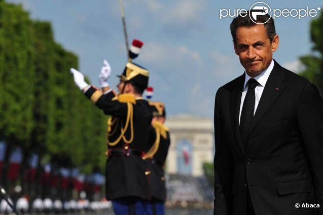 Nicolas Sarkozy lors du défilé du 14 juillet 2011, à Paris.