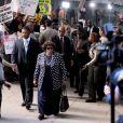 Arrivée de Katherine et Joe Jackson au procès du docteur Conrad Murray au tribunal de Los Angeles le 27 septembre 2011, accusé d'homicide involontaire sur Michael Jackson