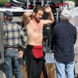 Gerard Butler sur le tournage de Of Men and Mavericks, le 11 octobre 2011 à Los Angeles.
