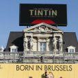Impressionnant dispositif pour l'avant-première des  Aventures de Tintin : Le Secret de la Licorne , à Bruxelles, le 22 octobre 2011.