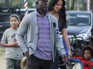 Djimon Hounsou à la recherche d'une citrouille avec sa petite famille